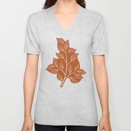 Delicate White Leaves and Branch on a Rust Orange Background Unisex V-Neck