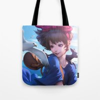 artgerm Tote Bags featuring Airmail  by Artgerm™