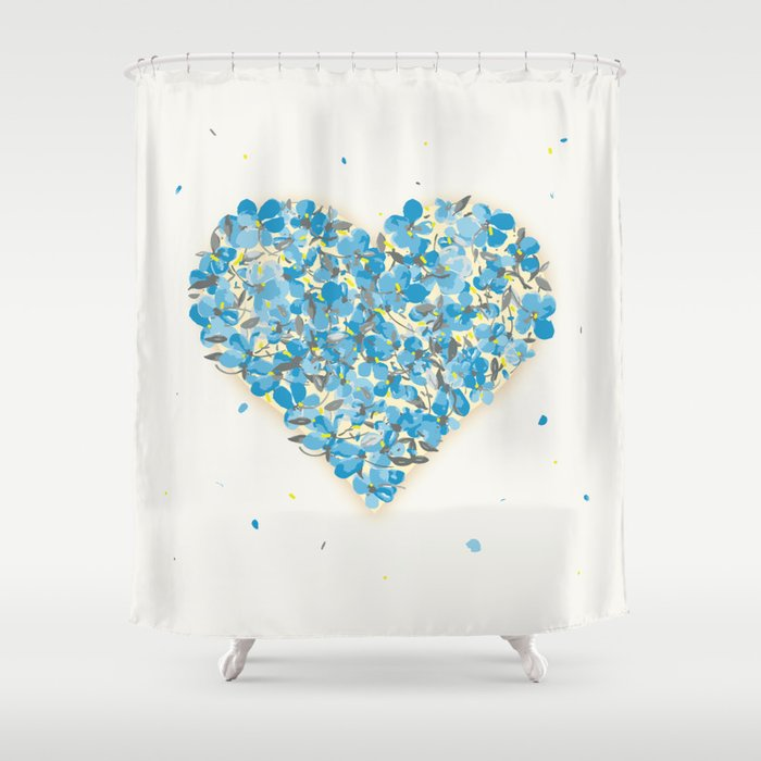 forget-me-nots heart Shower Curtain