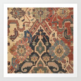 Geometric Leaves I // 18th Century Distressed Red Blue Green Colorful Ornate Accent Rug Pattern Art Print