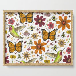 birds butterflies and blooms Serving Tray