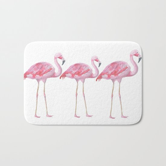 Flamingo - pink bird - animal on white background Bath Mat