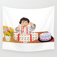 happy birthday Wall Tapestries featuring Happy Birthday! by Design4u Studio