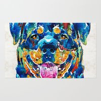rottweiler Area & Throw Rugs featuring Colorful Rottie Art - Rottweiler by Sharon Cummings by Sharon Cummings