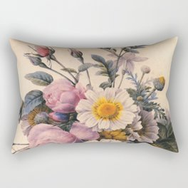 vintage white daisy and pink rose  flowers. P.J. Redoute. Rectangular Pillow