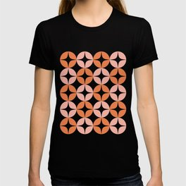 Mid Century Modern Motif Pattern in Burnt Orange and Blush T-shirt