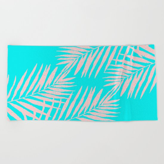 Abstract modern pink Tropical Exotic Palm Leaves on aqua by #Utart Beach Towel