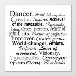 Dancer Description Canvas Print