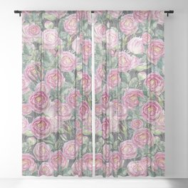 Vintage Roses Grey Sheer Curtain
