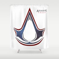 assassins creed Shower Curtains featuring Assassins Creed - Space by Fatih