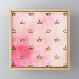 Royal Heraldy Gold crowns on pink watercolor Framed Mini Art Print