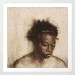 Shawna Portrait Painting of African Woman in Brown Art Print