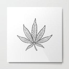 Minimal Marijuana Metal Print