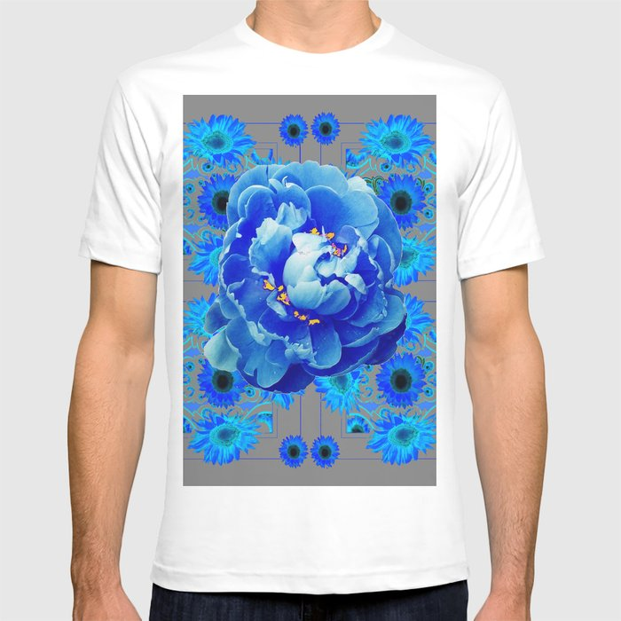 Baby Blue & Charcoal Grey Floral  Abstract Art T-shirt