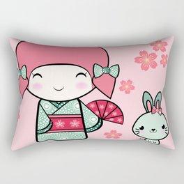 Kokeshi doll - Keiko e Usagi Rectangular Pillow