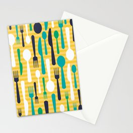 Pattern of spoons, forks and knifes Stationery Cards