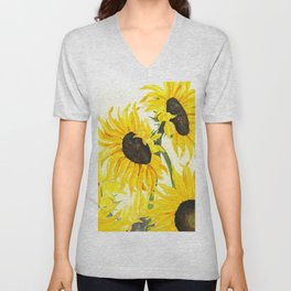 sunflower watercolor 2017 Unisex V-Neck