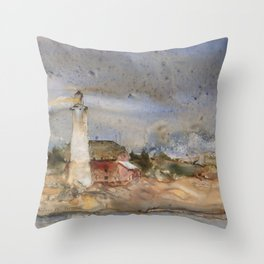 Menagerie Island Lighthouse Throw Pillow