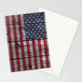USA flag - on grainy wood Stationery Cards