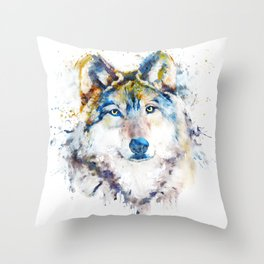 Wolf Face Watercolor Portrait Throw Pillow