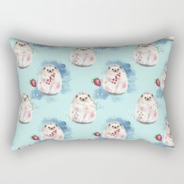 Hedgehog with fruits and flowers Rectangular Pillow