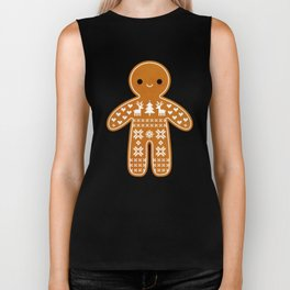 SWEATER PATTERN GINGERBREAD COOKIE Biker Tank