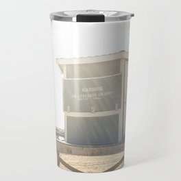 Bike leaning against lifeguard hut on beach Travel Mug