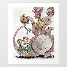 Monsters - 08 The Four-Headed Ex Art Print