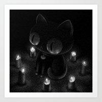 Drawlloween 2016: Black Cat Art Print