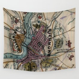 Vintage Richmond Virginia Civil War Map (1865) Wall Tapestry