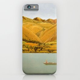 Edge of Abruzzi, Italy; boat with three people on lake by Winifred Knights iPhone Case