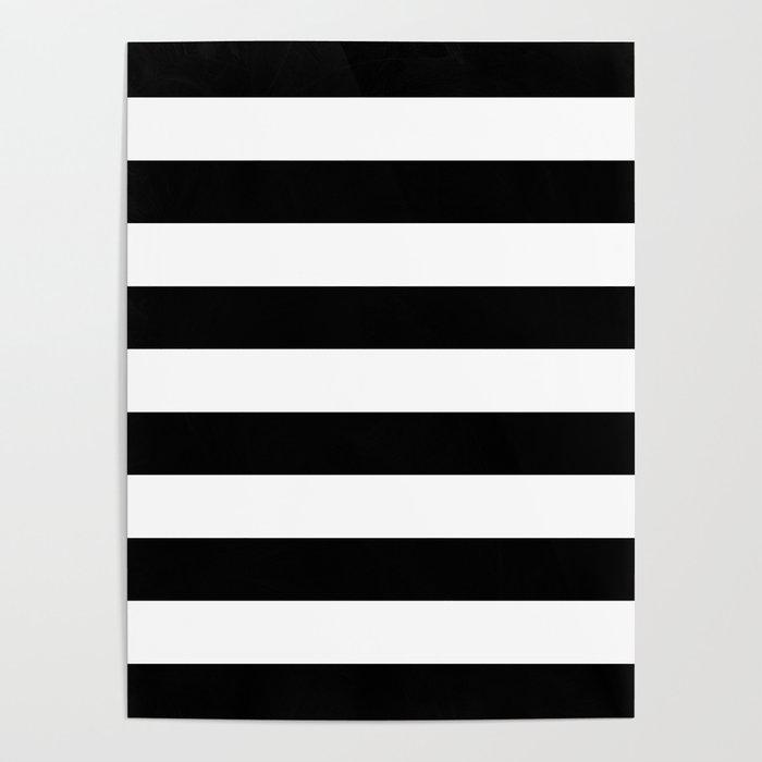 Stripe Black And White Horizontal Line Bold Minimalism Poster
