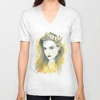 zodiac V-neck T-shirts featuring Zodiac - Leo by Simona Borstnar