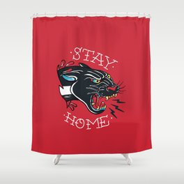 Stay Home Panther Tattoo Shower Curtain