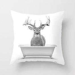 bathroom art, deer wall art, bathroom wall art, bathroom kids art, bathroom decor, bathroom wall decor, animal art, black and white art Throw Pillow