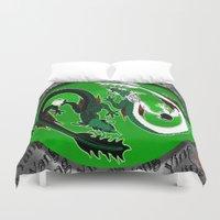 ying yang Duvet Covers featuring ying yang by Nerd Artist DM
