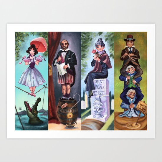 Disneyland Haunted Mansion Stretching Room Portraits by nuhcol