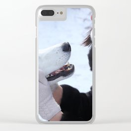 Young brunette female playing with her siberian husky outdoor. Clear iPhone Case