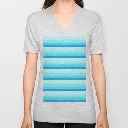 Turquoise Aqua Stripes Unisex V-Neck