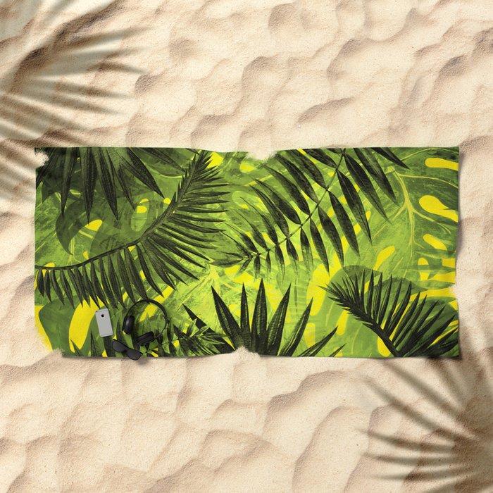 Tropical Leaves Aloha Jungle Garden Beach Towel