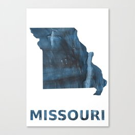 Missouri map outline Dark Gray Blue clouded watercolor pattern Canvas Print