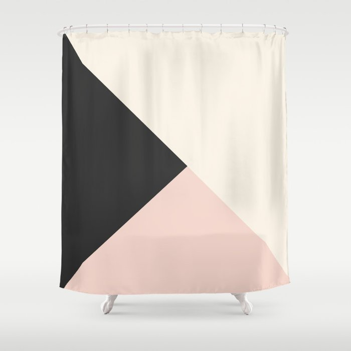 Geometrical Coral Ivory Black Modern Color Block Shower Curtain By Pink Water