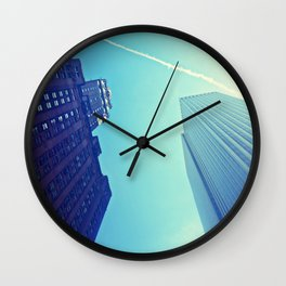 Skyscrapers and Contrail Wall Clock