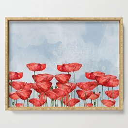 Poppyfield poppies poppy blue sky - watercolor artwork Serving Tray