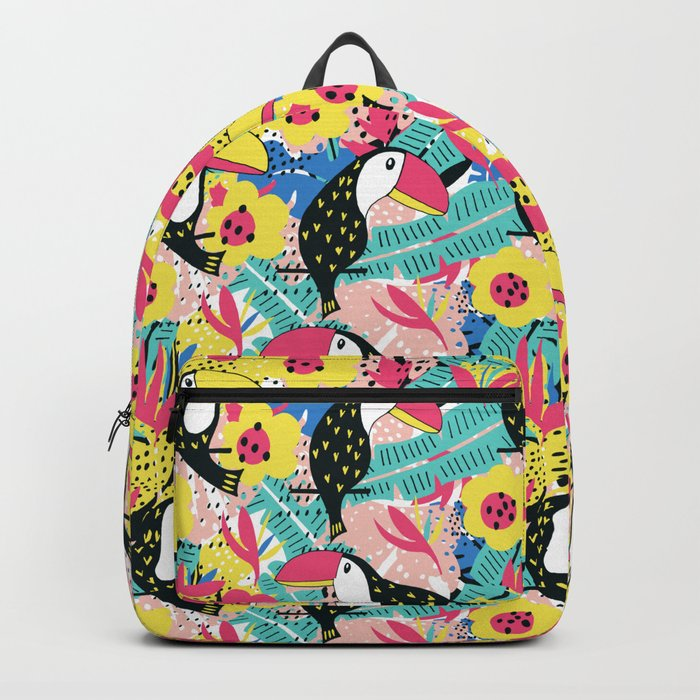 Toucan floral pattern Backpack