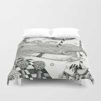 lake Duvet Covers featuring East of Blue Lake by Judith Clay