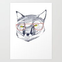 mr fox Art Prints featuring Mr Fox by Ashley Percival illustration