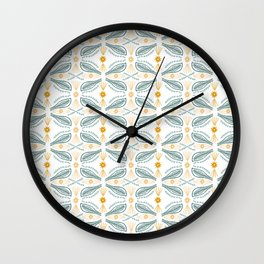 Poblanos Pattern Green Gold White Wall Clock