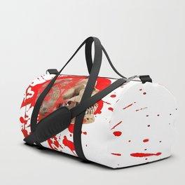 WHITE RED EXPLODING BLOODY SKULL HALLOWEEN  ART Duffle Bag