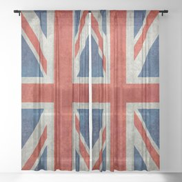 British flag of the UK, retro style Sheer Curtain